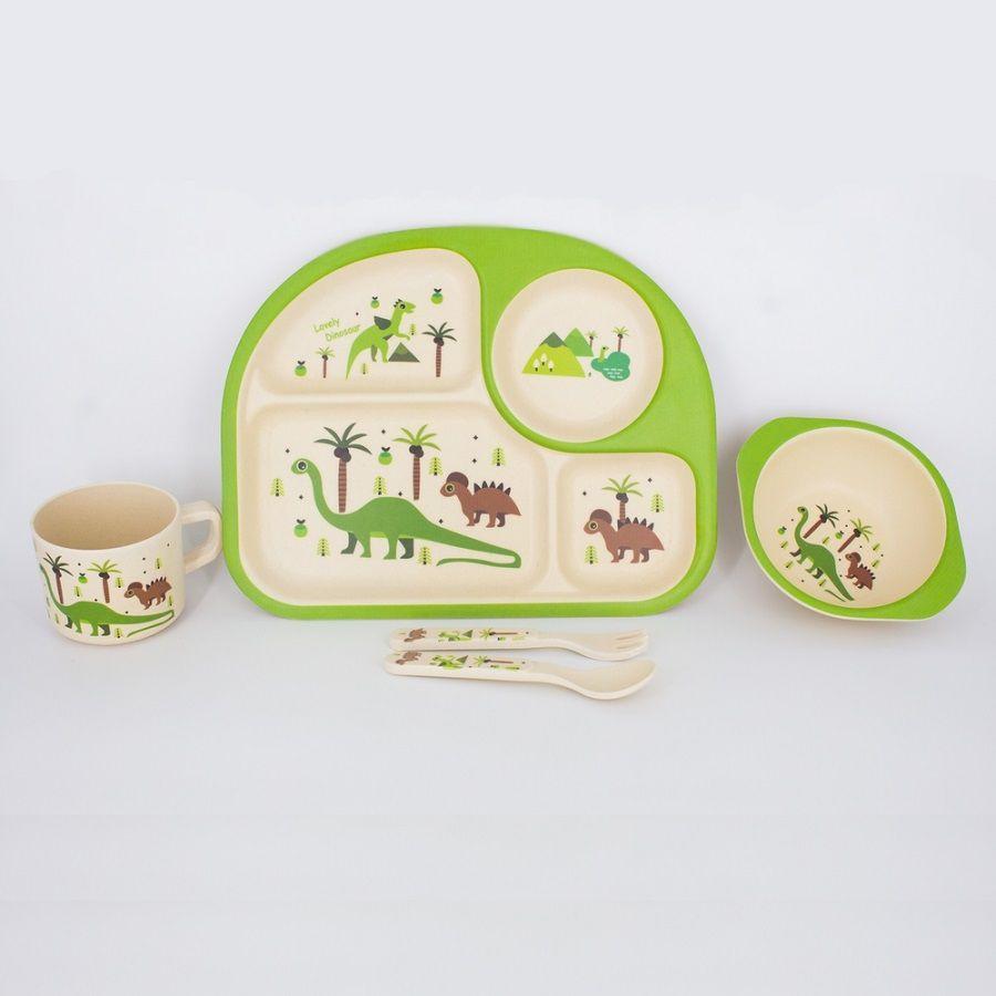 Kit Alimentação Infantil Dinossauro em Fibra De Bambu 5 Pçs