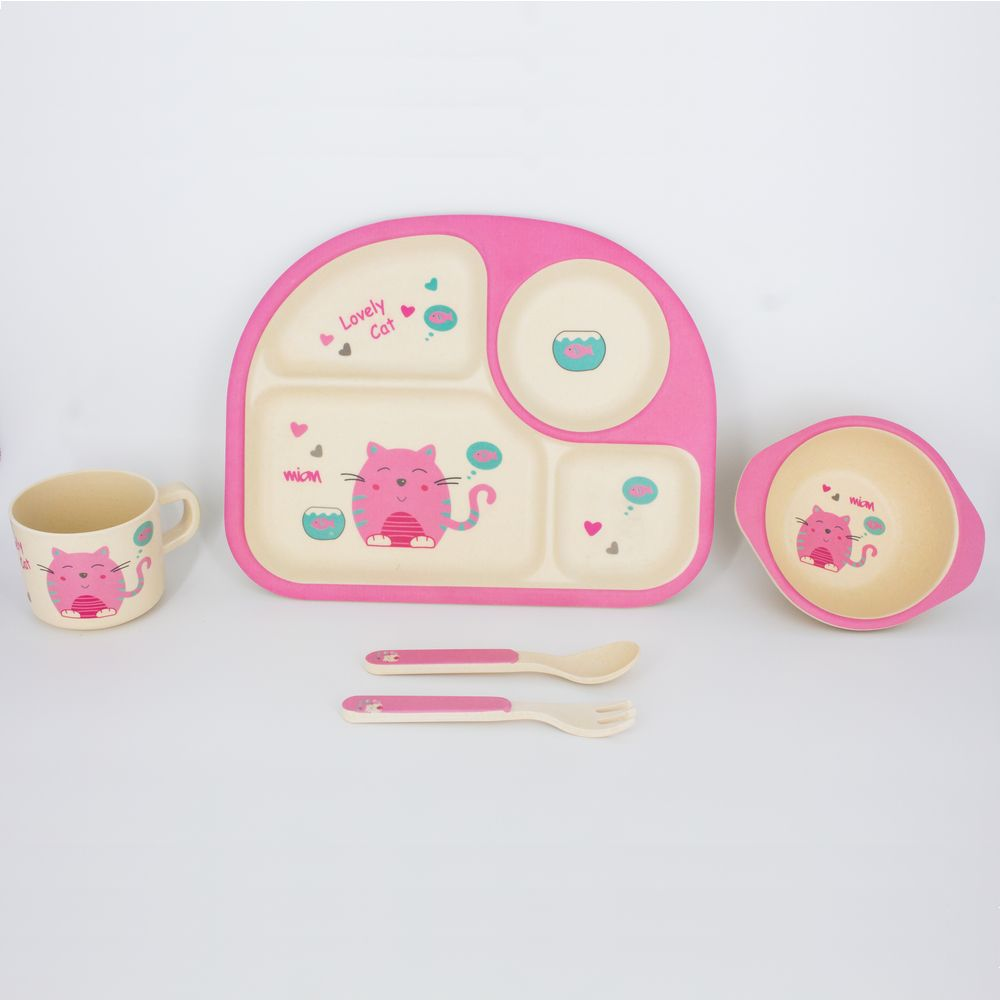 Kit Alimentação Infantil Gatinha Rosa em Fibra De Bambu 5 Pçs