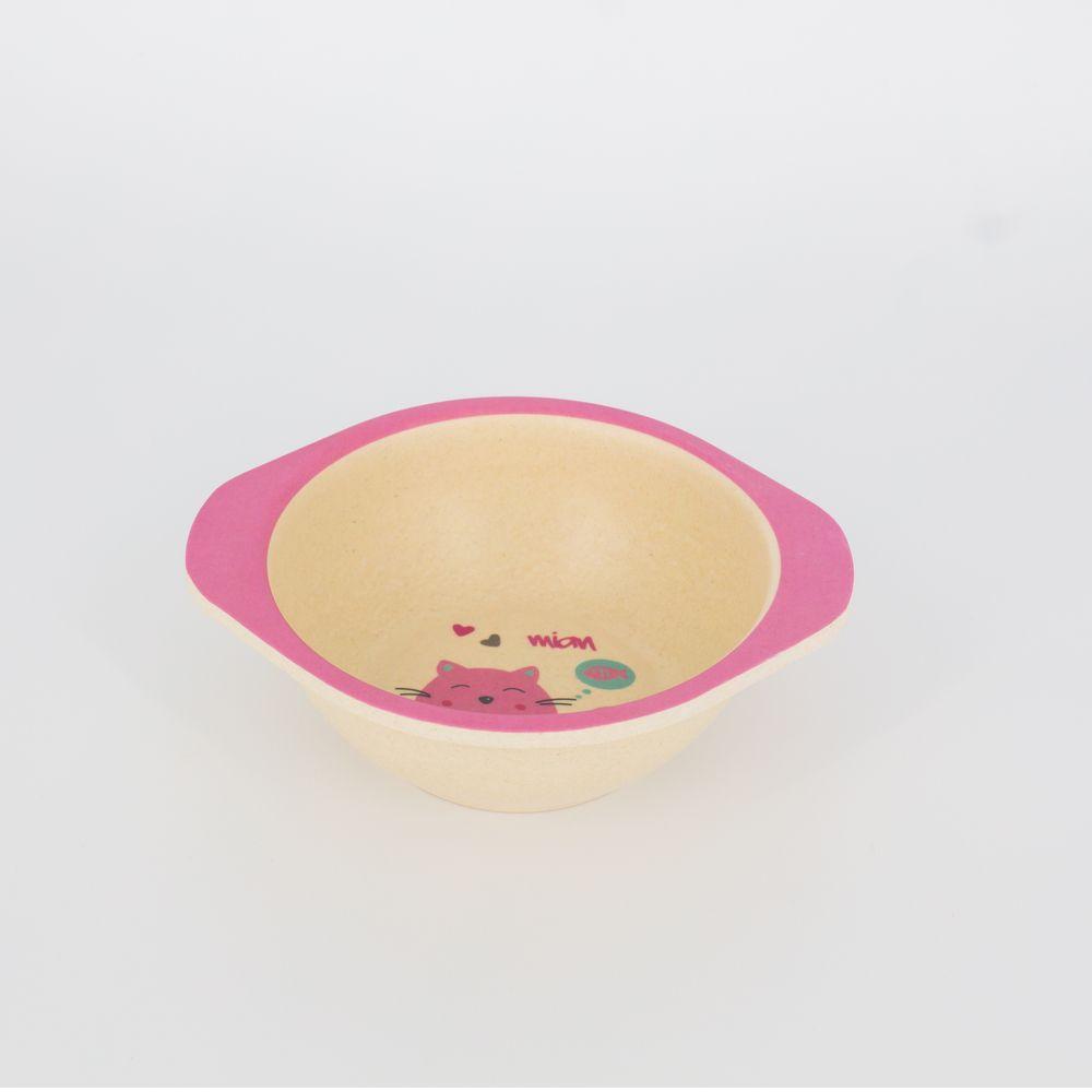 Kit Alimentação Infantil Gatinha Rosa em Fibra De Bambu 5 Pçs   - Shop Ud