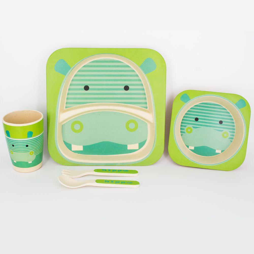 Kit Alimentação Infantil Hipopótamo  em Fibra De Bambu 5 Pçs