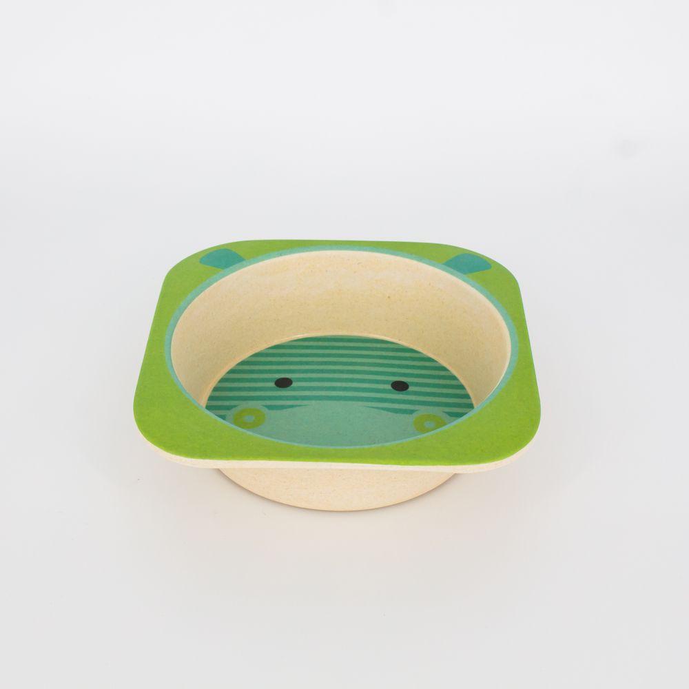 Kit Alimentação Infantil Hipopótamo  em Fibra De Bambu 5 Pçs   - Shop Ud