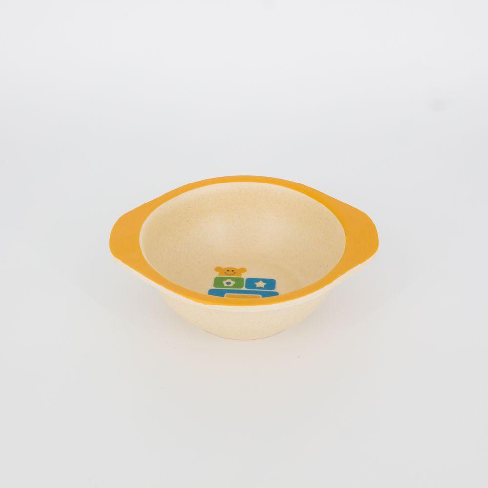 Kit Alimentação Infantil Laranja em Fibra De Bambu 5 Pçs   - Shop Ud