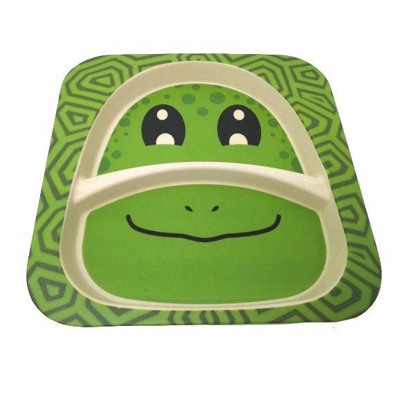 Kit Alimentação Infantil Sapinho Verde em Fibra De Bambu 5 Pçs   - Shop Ud