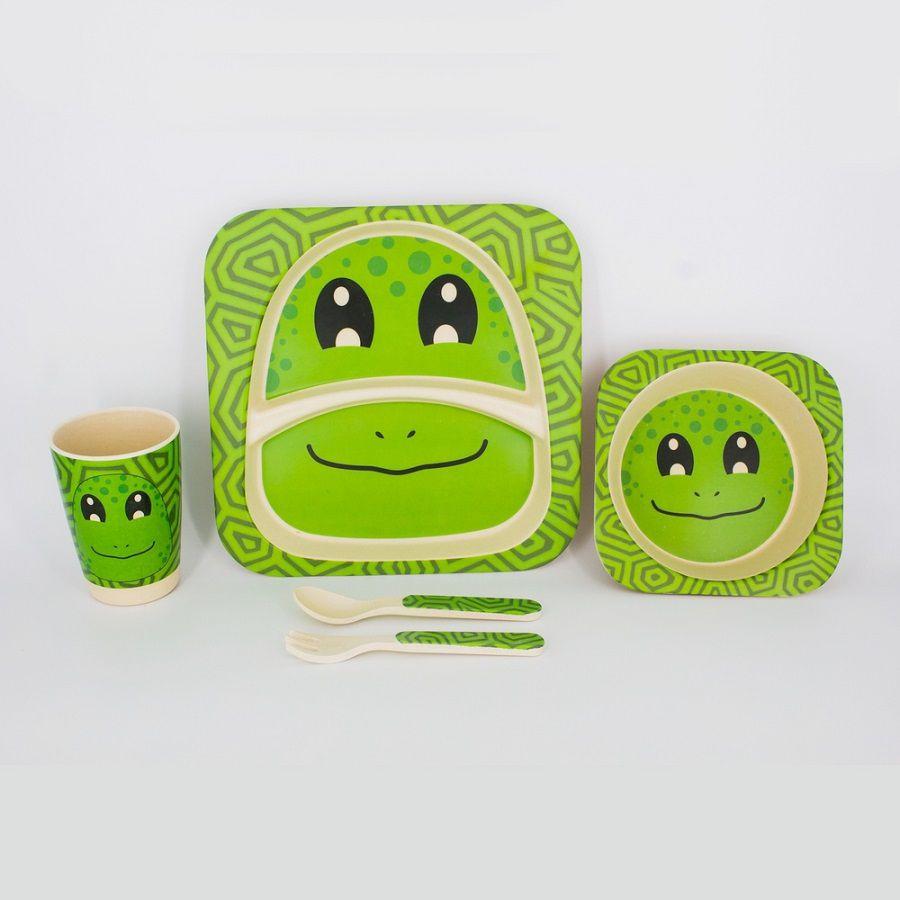 Kit Alimentação Infantil Sapinho Verde em Fibra De Bambu 5 Pçs
