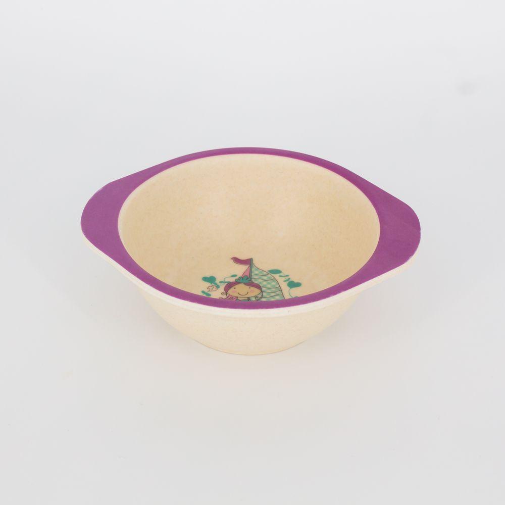 Kit Alimentação Infantil Sereia Lilás  em Fibra De Bambu 5 Pçs   - Shop Ud