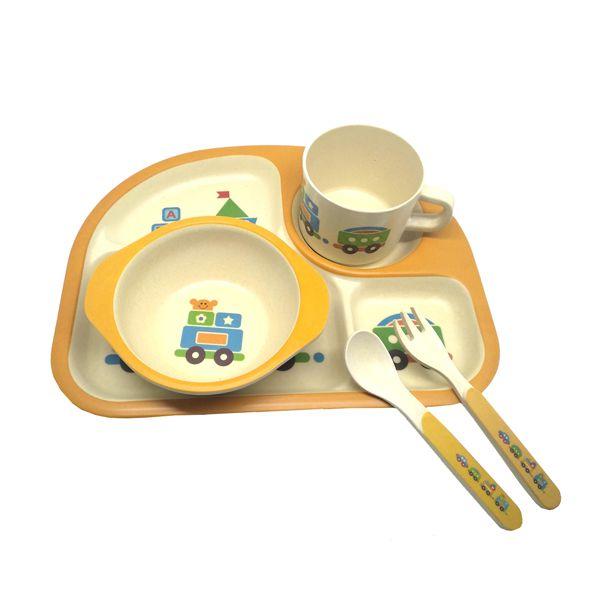 Kit Alimentação Infantil Laranja em Fibra De Bambu 5 Pçs