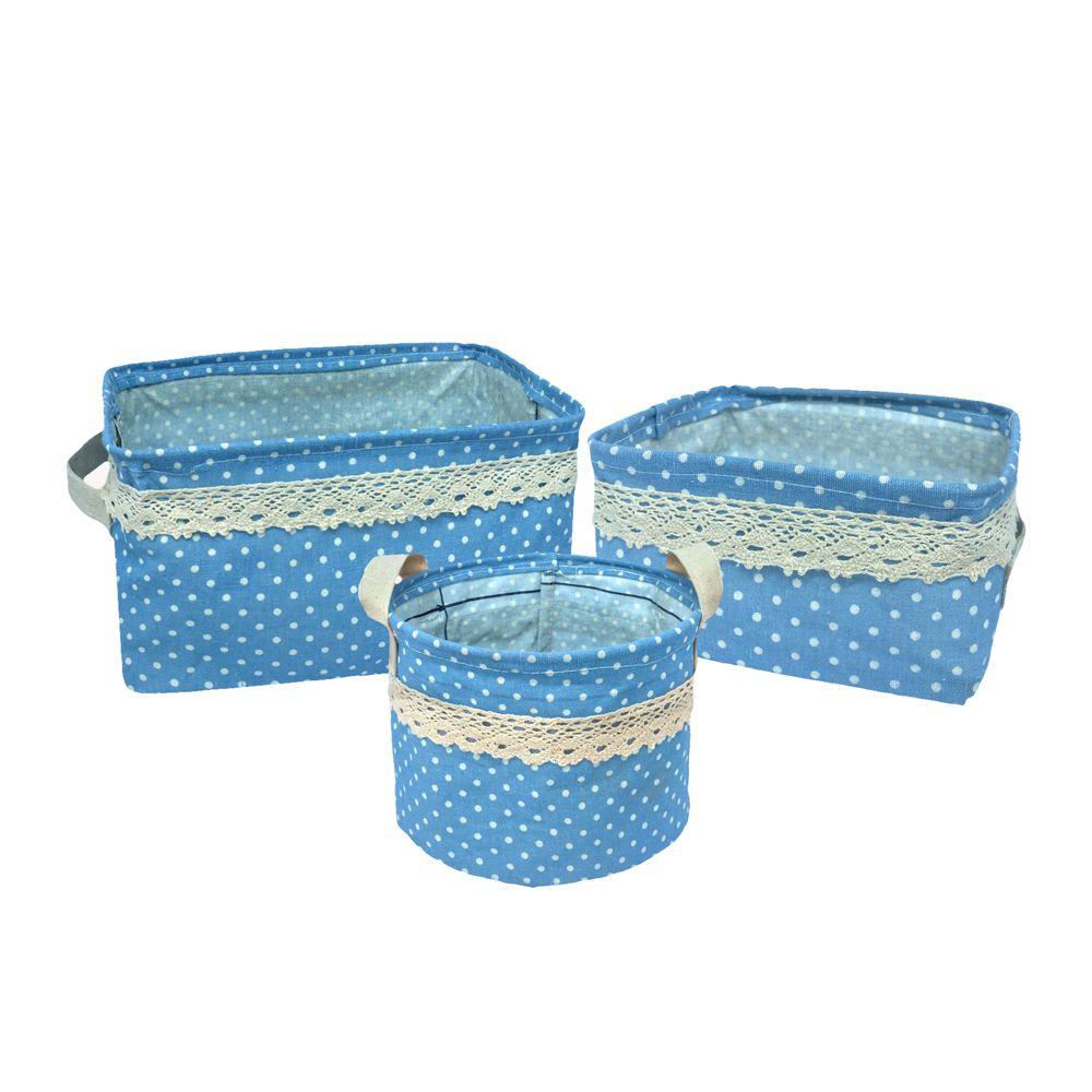 Kit com 3 Cestos Organizadores Azul Claro com Sustentação