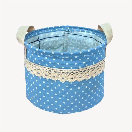 Kit com 3 Cestos Organizadores Azul Claro com Sustentação  - Shop Ud