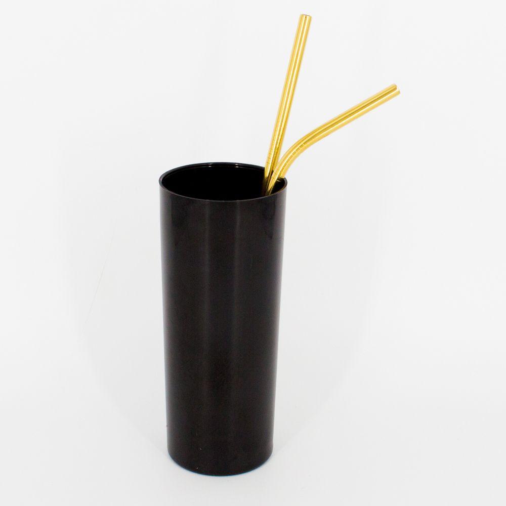 Kit 2 Canudos e 1 Escovinha em Inox - Dourado   - Shop Ud