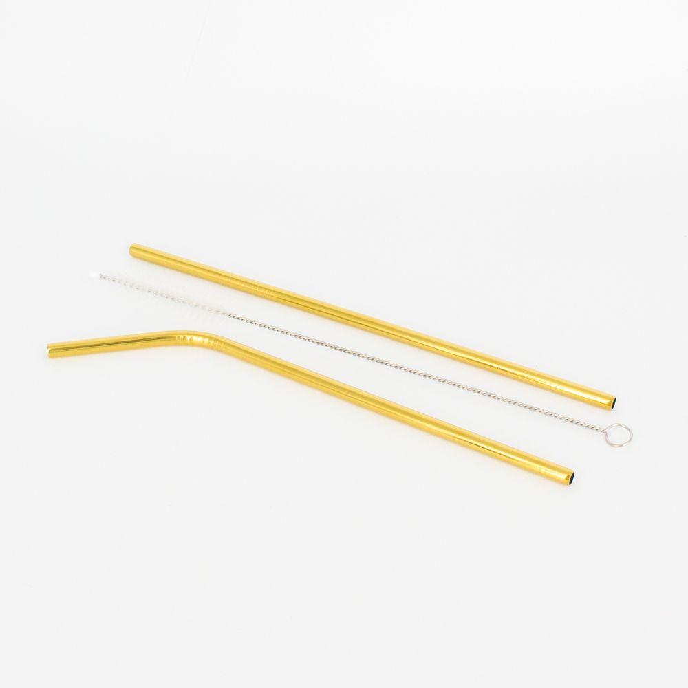 Kit 2 Canudos e 1 Escovinha em Inox - Dourado