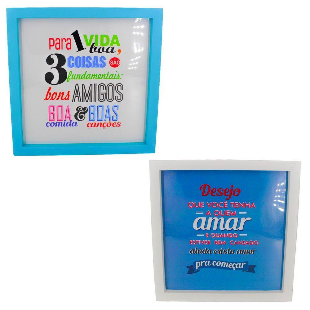 Kit 02 Quadros Decorativos Azul Claro e Branco - Vida Boa e Amar 25x20