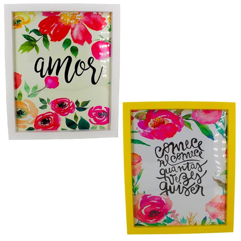 Kit 02 Quadros Decorativos Branco e Amarelo - Amor e Comece e Recomece 30x25