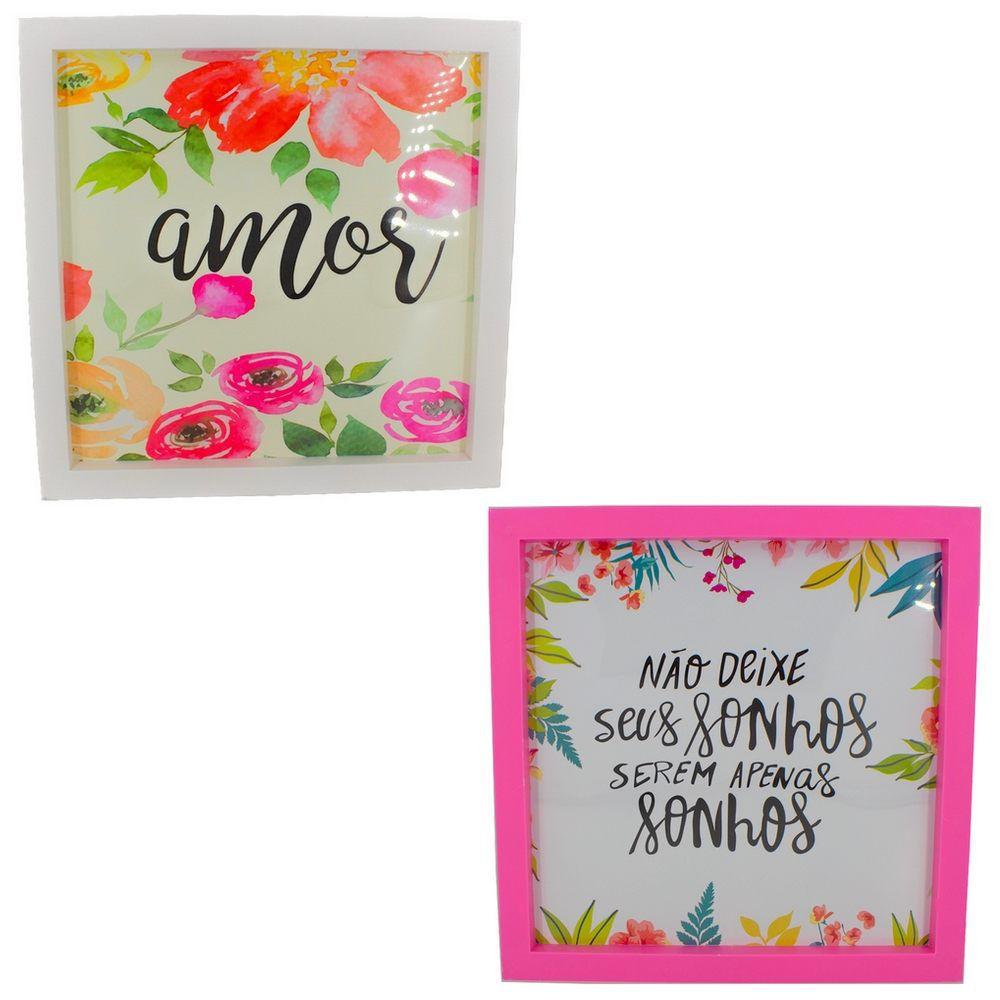 Kit 02 Quadros Decorativos Branco e Rosa - Amor e Sonhos 25x20