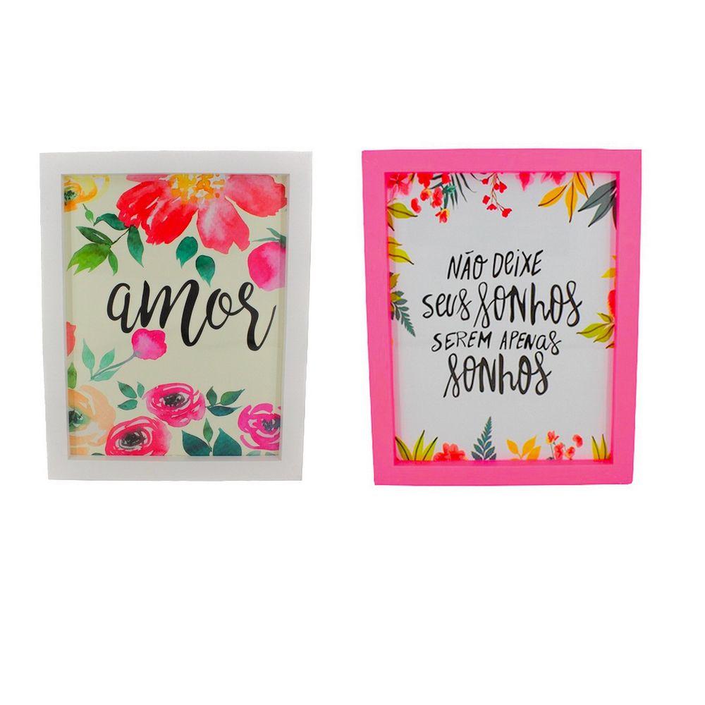Kit 02 Quadros Decorativos Branco e Rosa - Amor e Sonhos 25x25  - Shop Ud