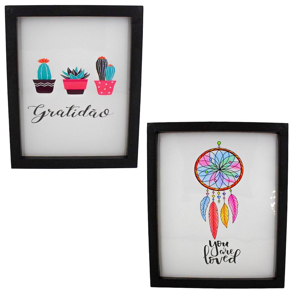 Kit 02 Quadros Decorativos Cacto e Filtro dos Sonhos - Moldura Preta 30x25