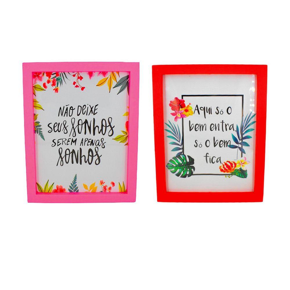 Kit 02 Quadros Decorativos Vermelho e Rosa - Não deixe seus sonhos e Só o Bem Fica 25x25