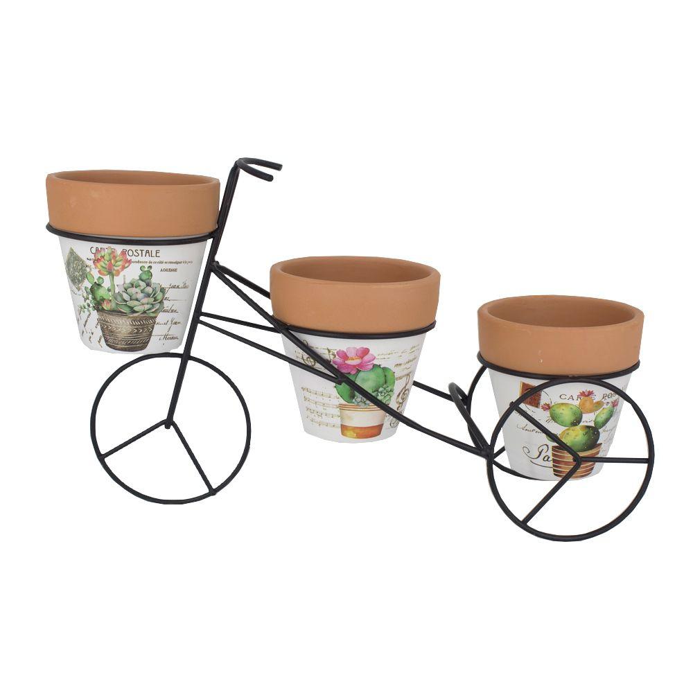 Kit com 03 Vasos de Cerâmica com Suporte De Bicicleta