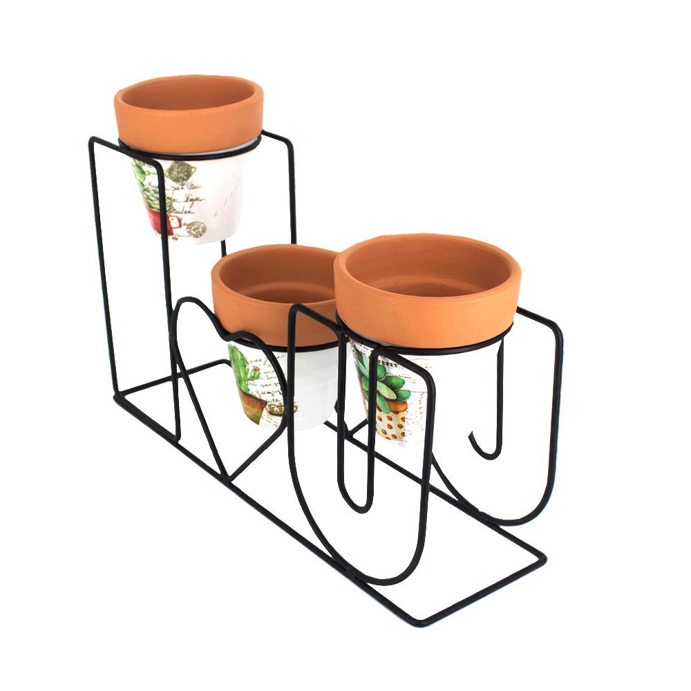 Kit com 03 Vasos de Cerâmica com Suporte I Love You  - Shop Ud