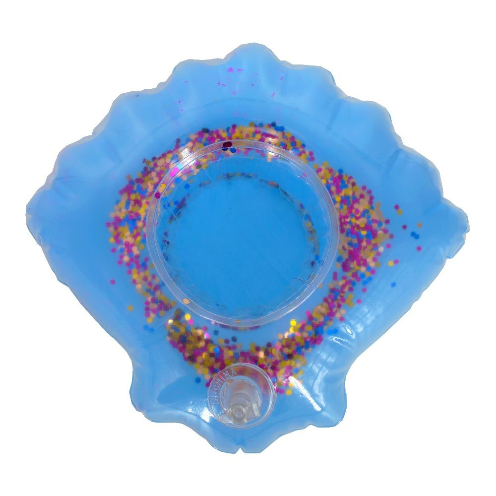 Kit com 05 Porta Copo Boia Inflável - Concha Glitter Azul