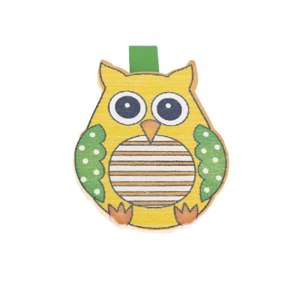 Kit com 06 Prendedores 3,5 cm - Coruja Amarela e Verde  - Shop Ud