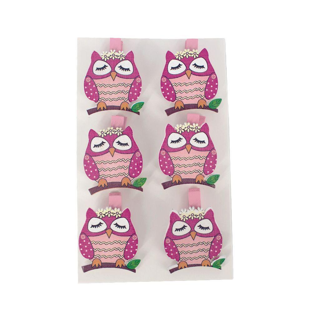 Kit com 06 Prendedores - Coruja Pink (Olhos Fechados) 3,5cm