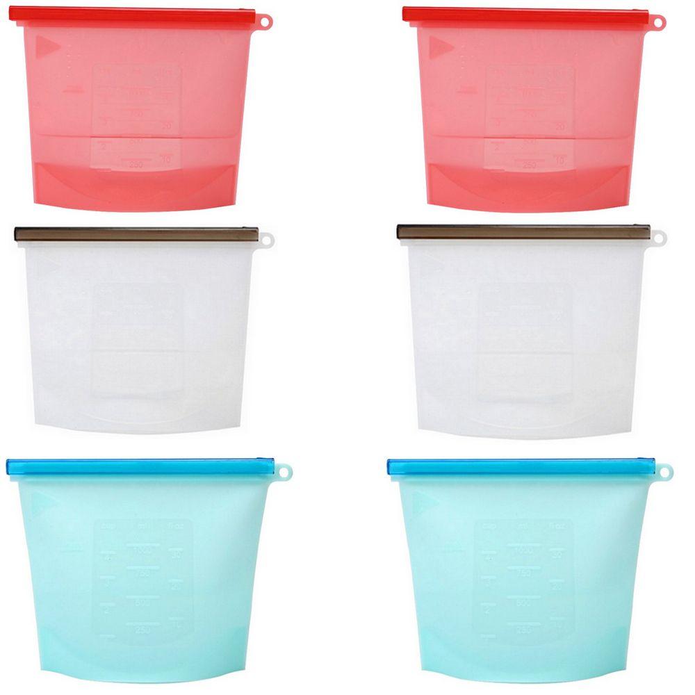 Kit com 06 Sacos de Alimentos de Silicone 1000ml - 02 Vermelho, 02 Cinza e 02 Azul