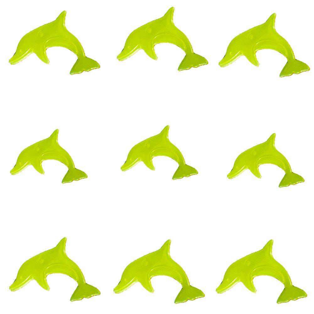 Kit com 09 Adesivos que brilham no Escuro - Golfinho Verde Limão