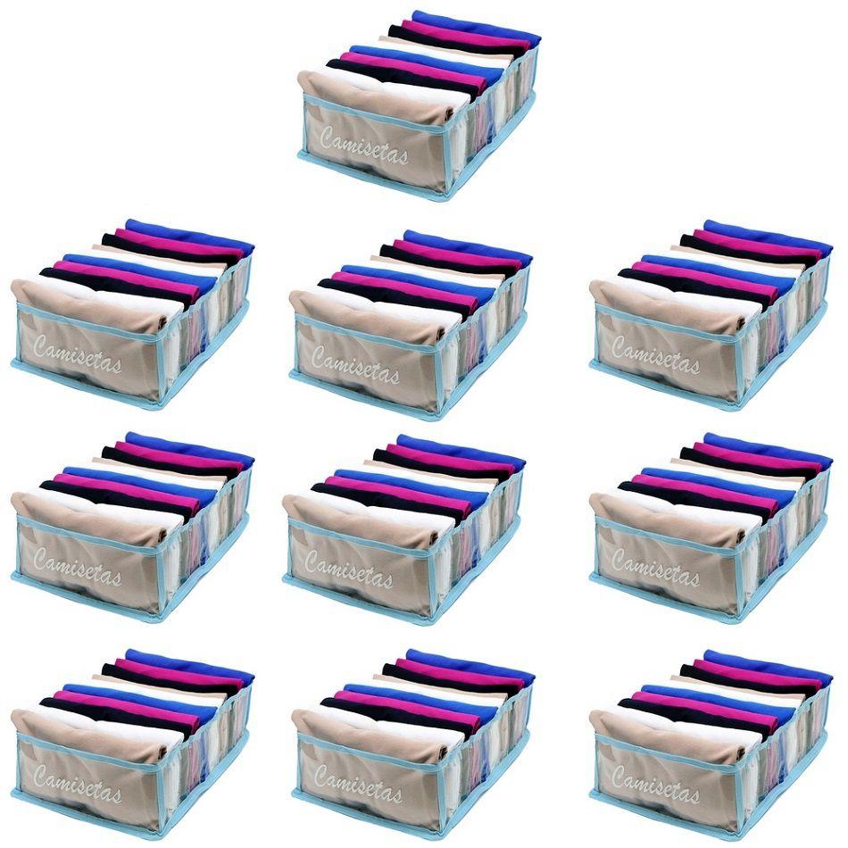 Kit com 10 Colmeia Organizadora Para Camisetas - Azul