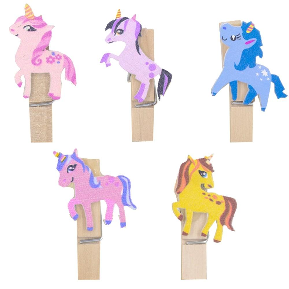 Kit com 10 Mini Prendedores Decorados - Unicórnios Coloridos  - Shop Ud
