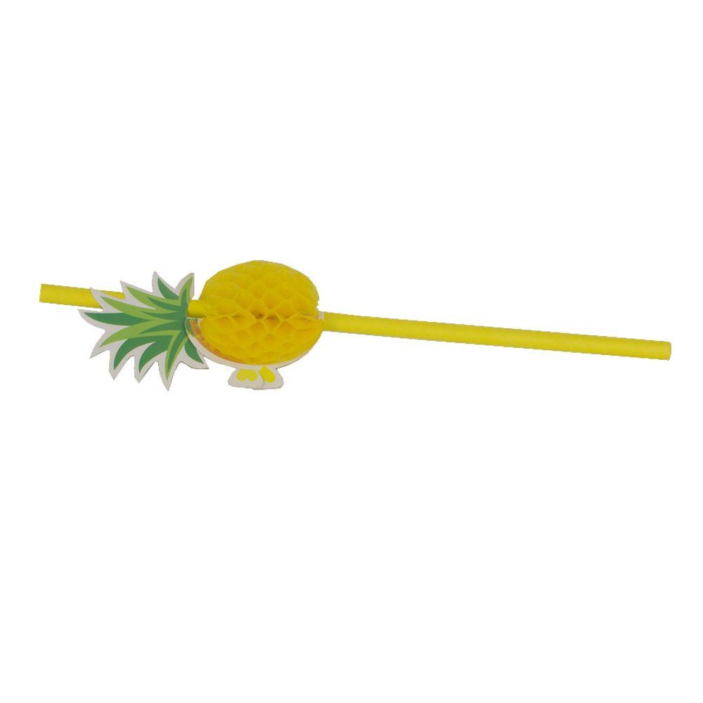 Kit com 12 Canudos de Papel Decorativo - Abacaxi Amarelo  - Shop Ud