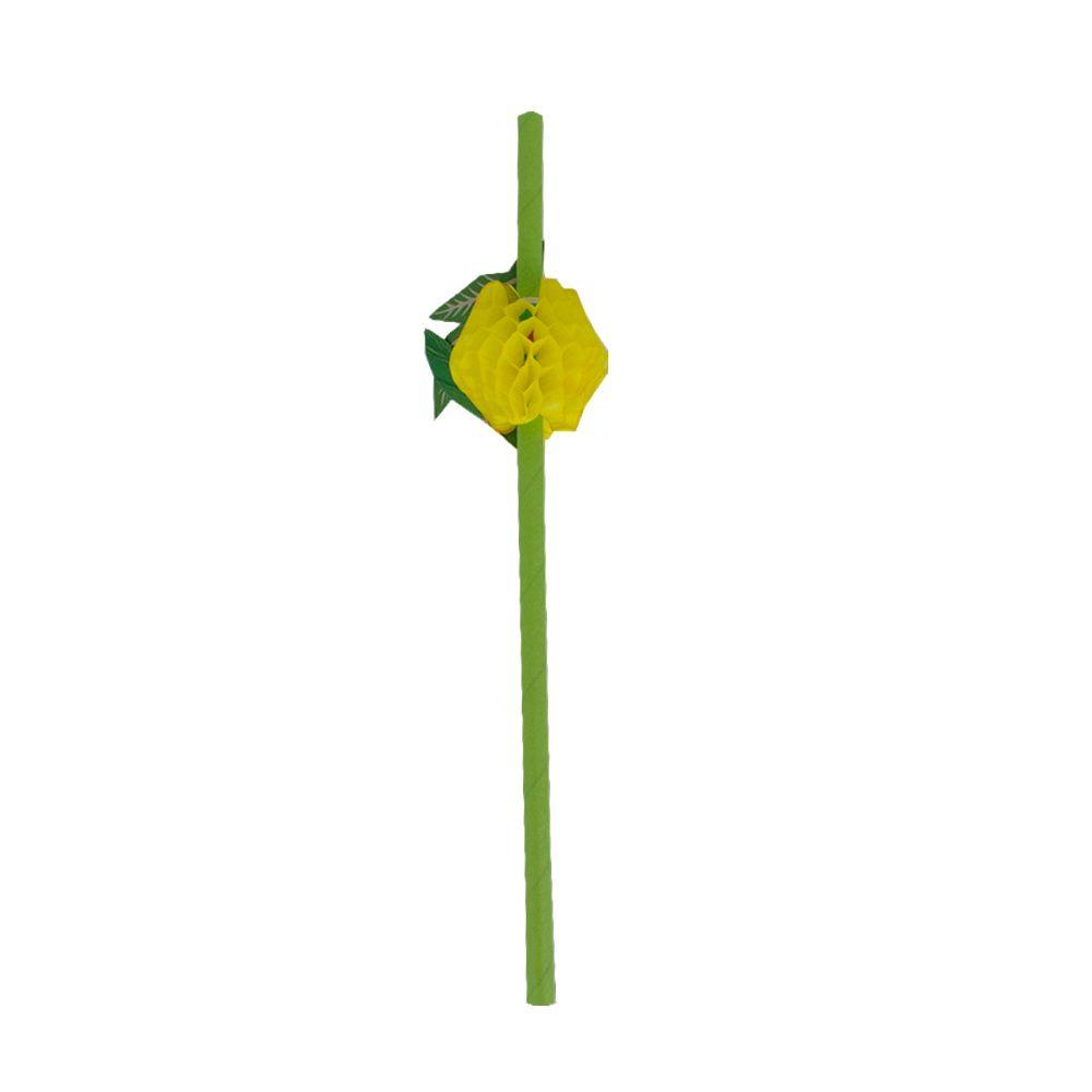 Kit com 12 Canudos de Papel Decorativo - Limão Amarelo  - Shop Ud