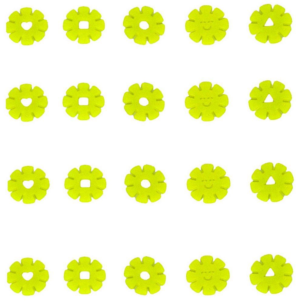 Kit com 20 Adesivos que brilham no Escuro - Flor Verde Limão