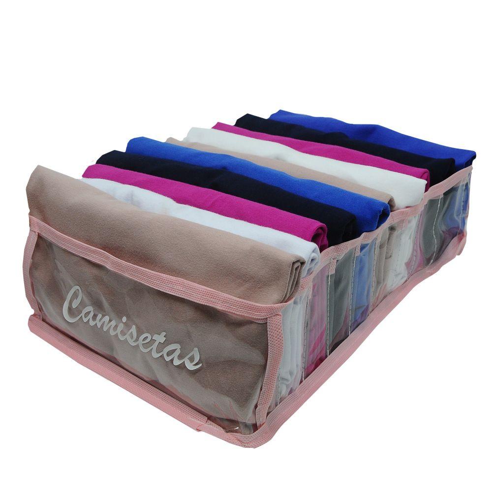 Kit com 20 Organizadores de Camisetas Rosa