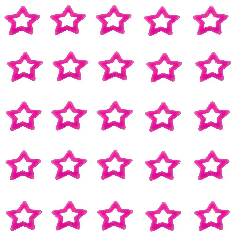 Kit com 25 Adesivos que brilham no Escuro - Estrela Rosa