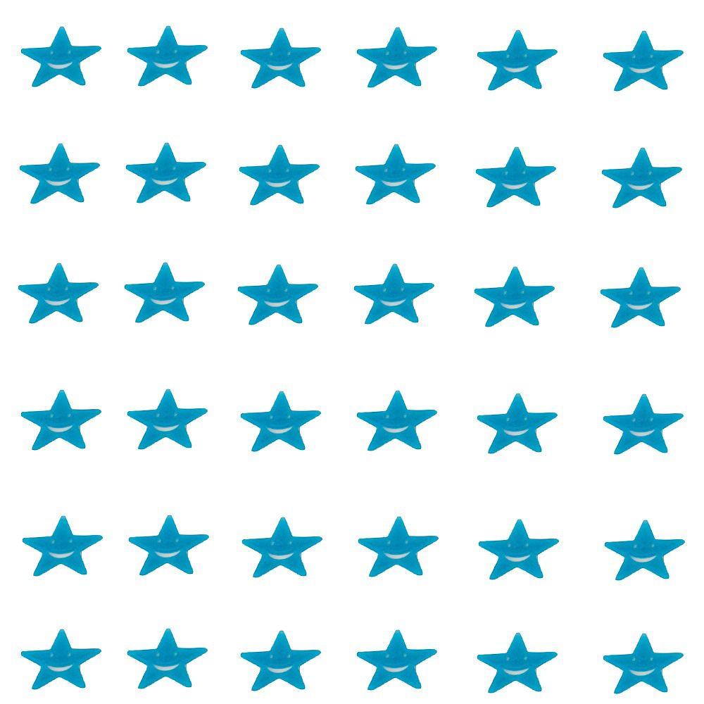 Kit com 36 Adesivos que brilham no Escuro - Estrela Sorridente Azul