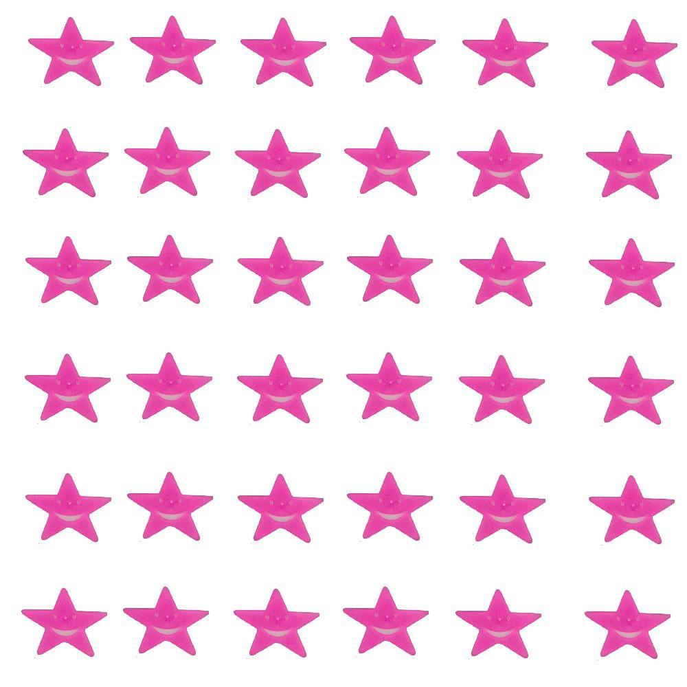 Kit com 36 Adesivos que brilham no Escuro - Estrela Sorridente Rosa