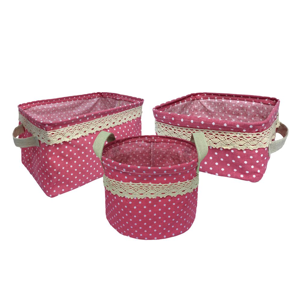 Kit com 3 Cestos Organizadores Rosa com Sustentação
