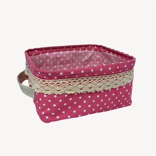 Kit com 3 Cestos Organizadores Rosa com Sustentação  - Shop Ud