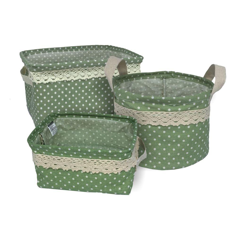 Kit com 3 Cestos Organizadores Verde com Sustentação