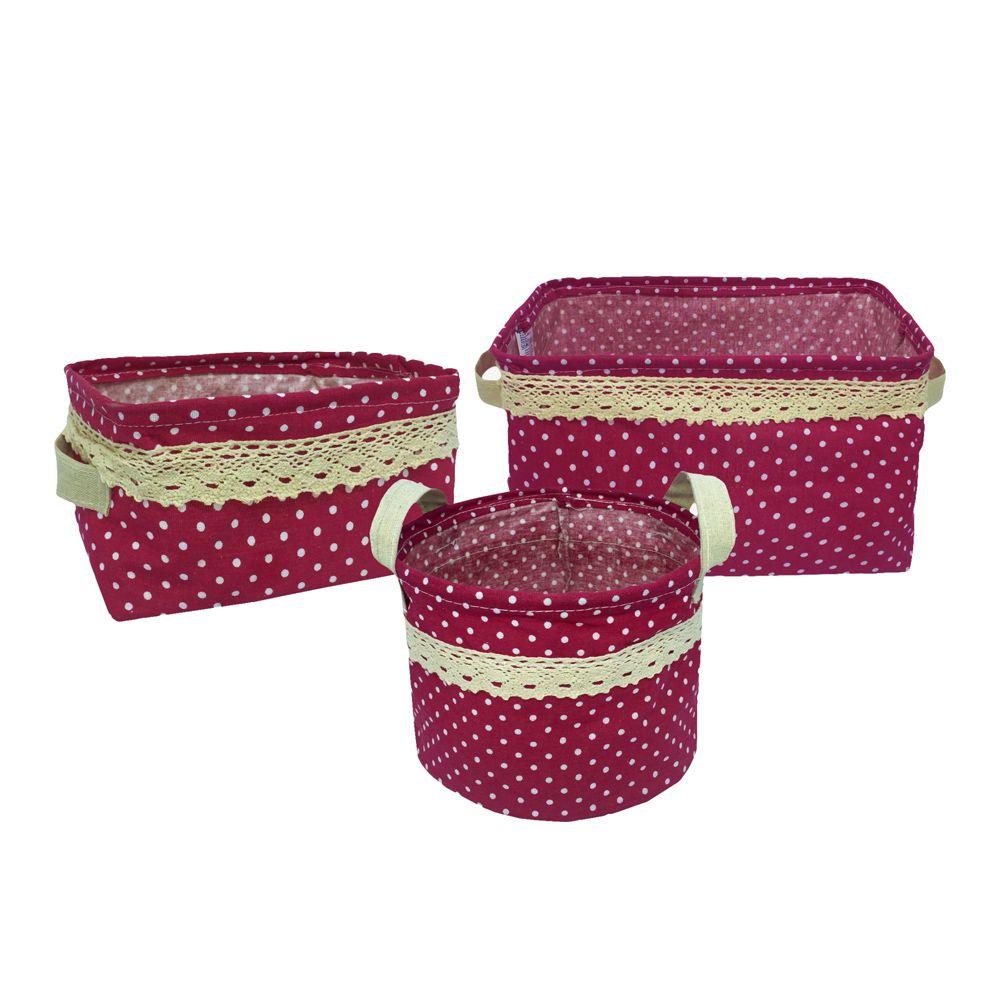 Kit com 3 Cestos Organizadores Vinho com Sustentação  - Shop Ud