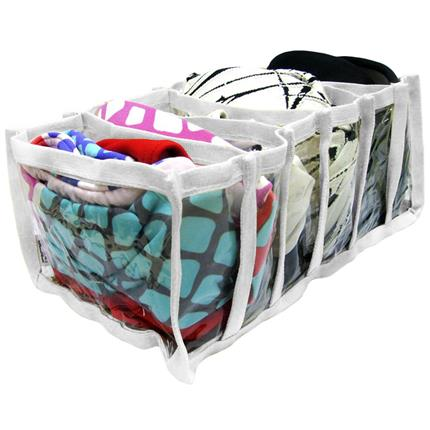 Kit com 3 organizadores multiuso em PVC Transparente e Viés Branco  - Shop Ud