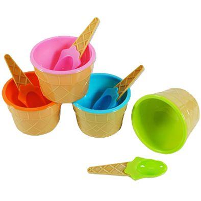 Kit com 4 Taças de Sorvete Plástico com Colher  - Shop Ud