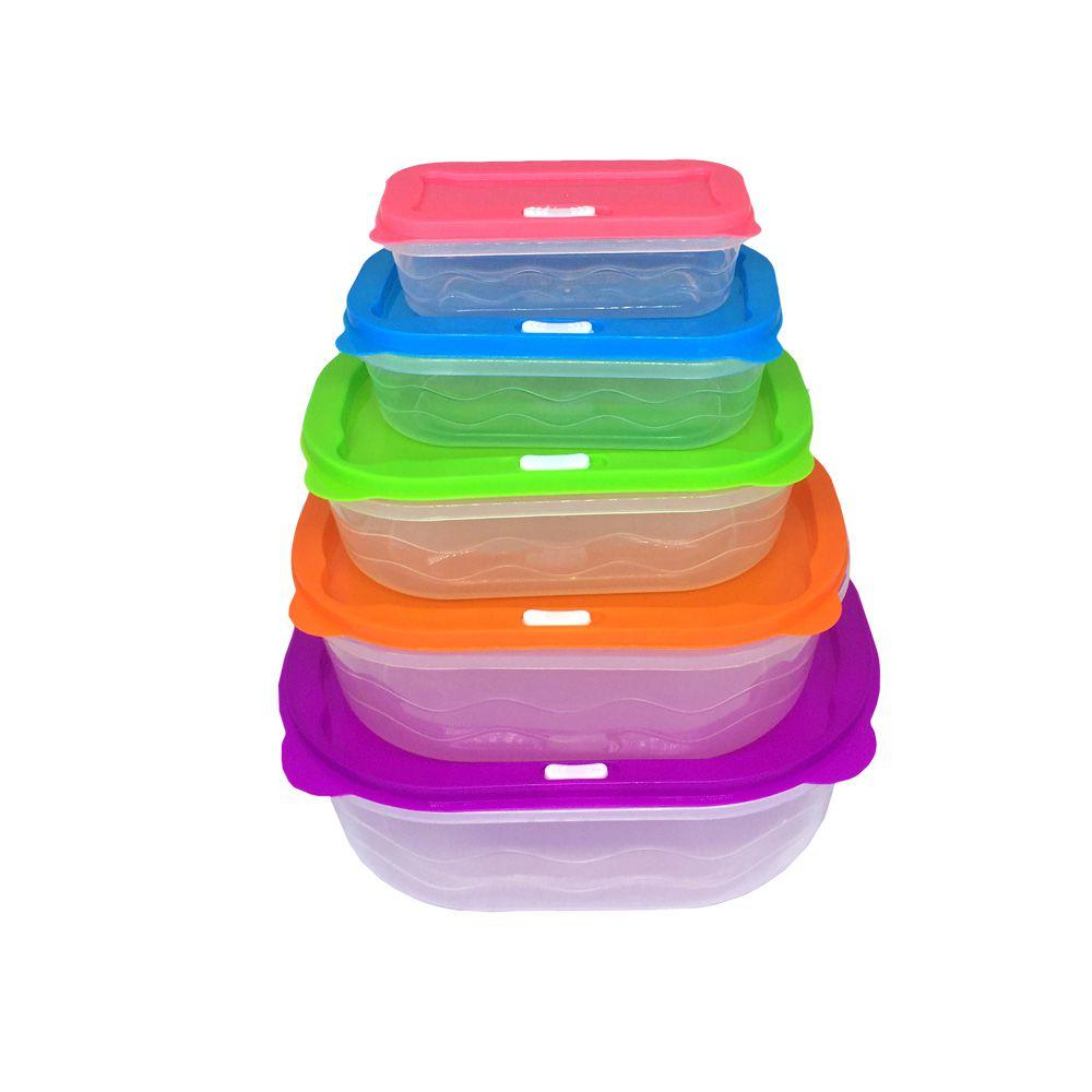 Kit com 5 Potes Plásticos Retangulares  - Shop Ud