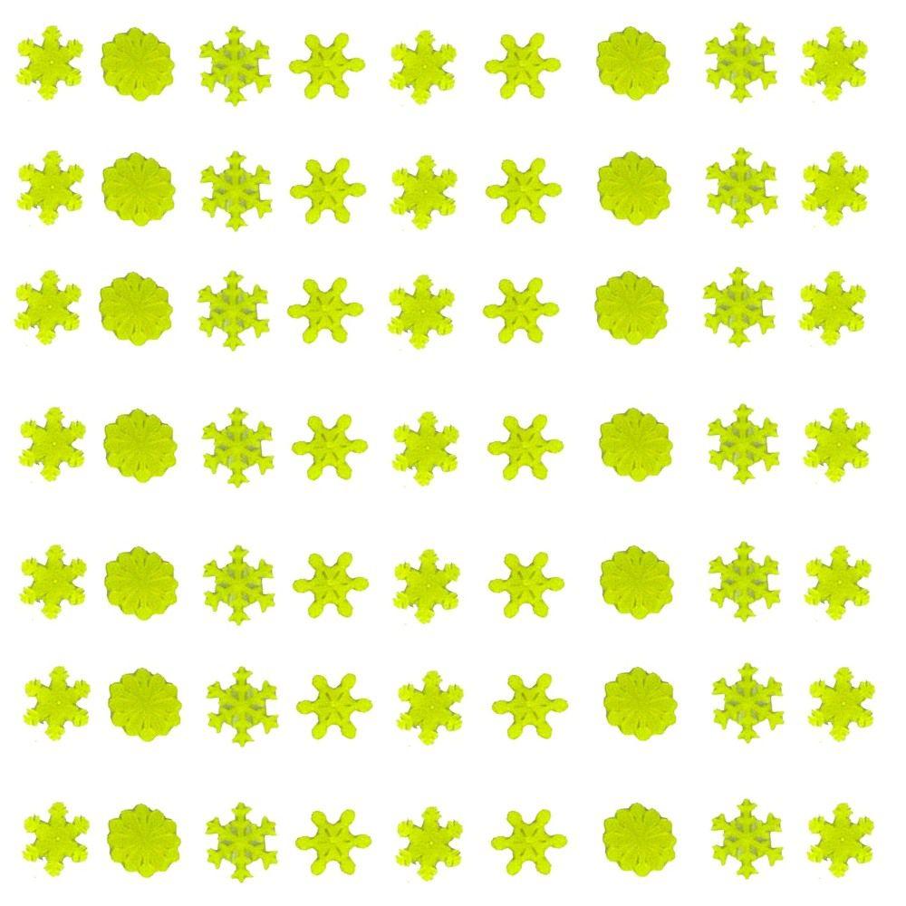 Kit com 63 Adesivos que brilham no Escuro - Floco de Neve Verde