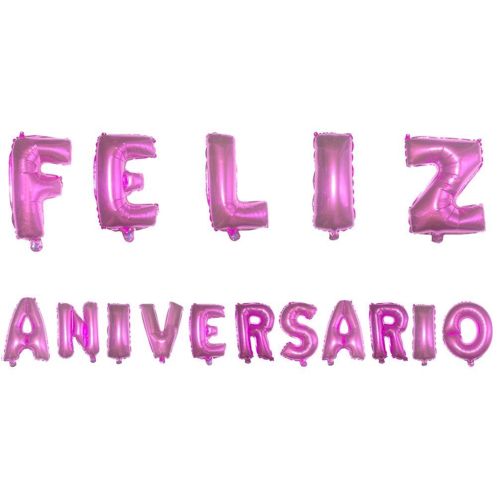 Kit com Balões Metalizado - Feliz Aniversário - Pink  - Shop Ud