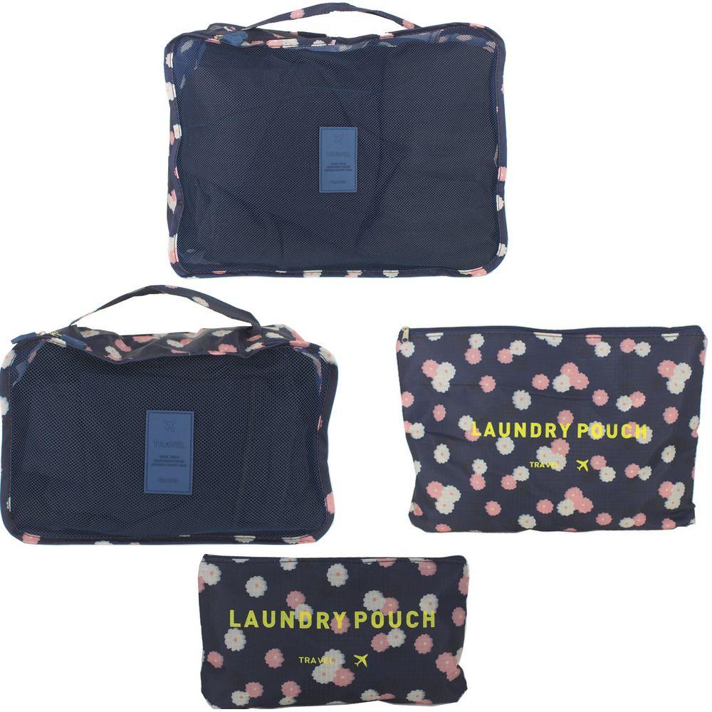 Kit Organizador para Mala Viagem 4 Peças Azul Marinho Flores