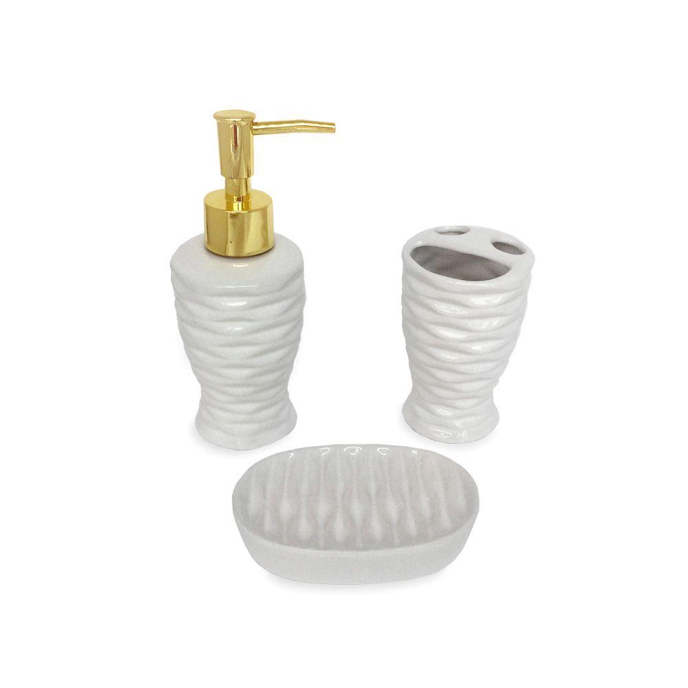 Kit Para Banheiro Branco Ondas 3 Peças Sabonete Liquido