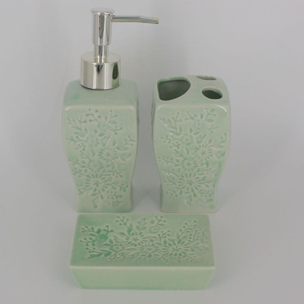 Kit Para Banheiro Verde Claro Flores 3 Peças Sabonete Liquido