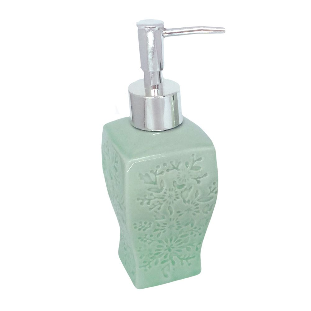 Kit Para Banheiro Verde Claro Flores 3 Peças Sabonete Liquido  - Shop Ud
