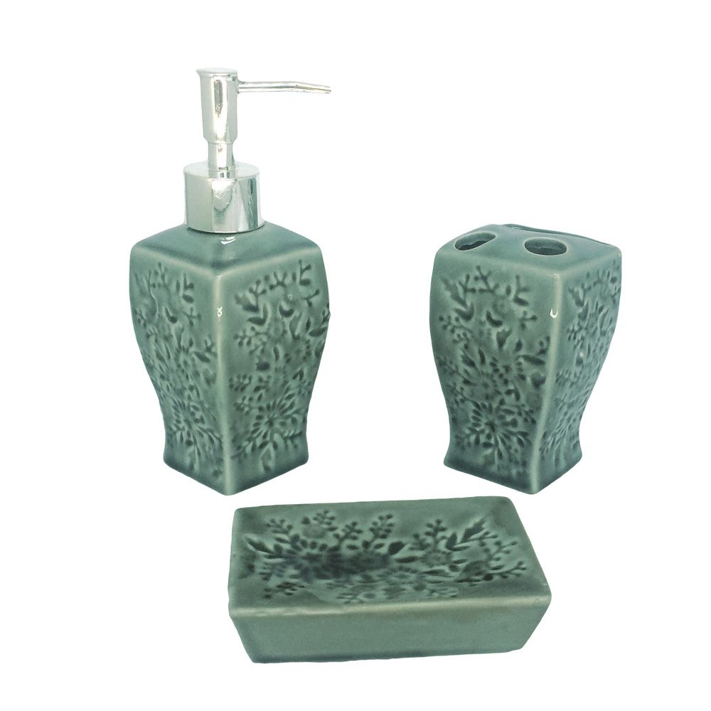Kit Para Banheiro Verde  Escuro Flores 3 Peças Sabonete Liquido